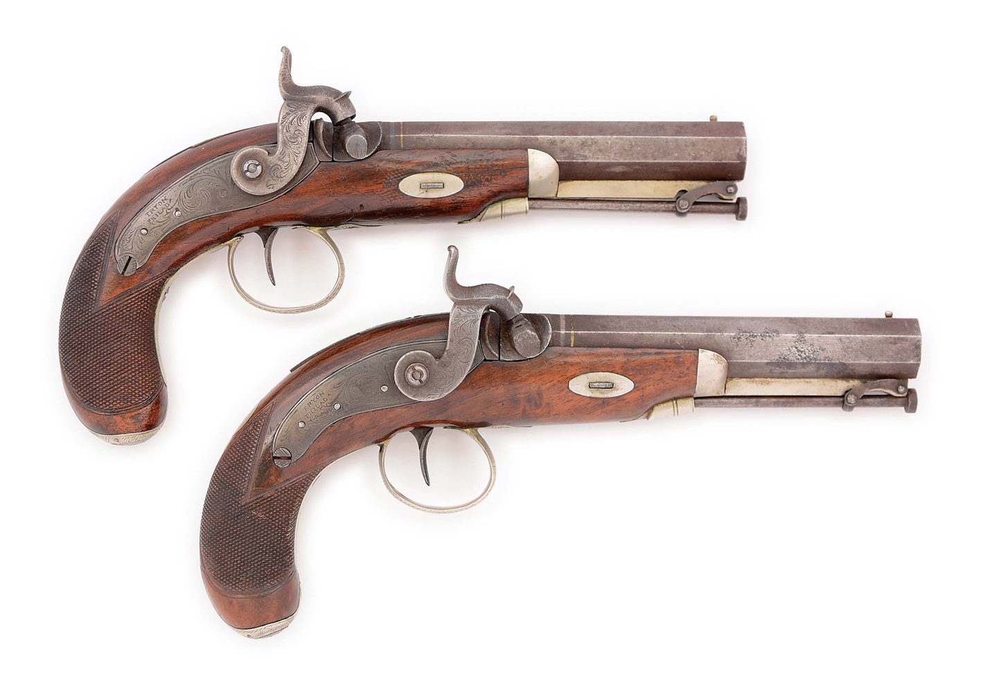 (A) LOT OF TWO: A FINE PAIR OF TRYON PHILADELPHIA BELT PISTOLS MADE FOR L.FISHER, LYNCHBURG VA CIRCA 1850.