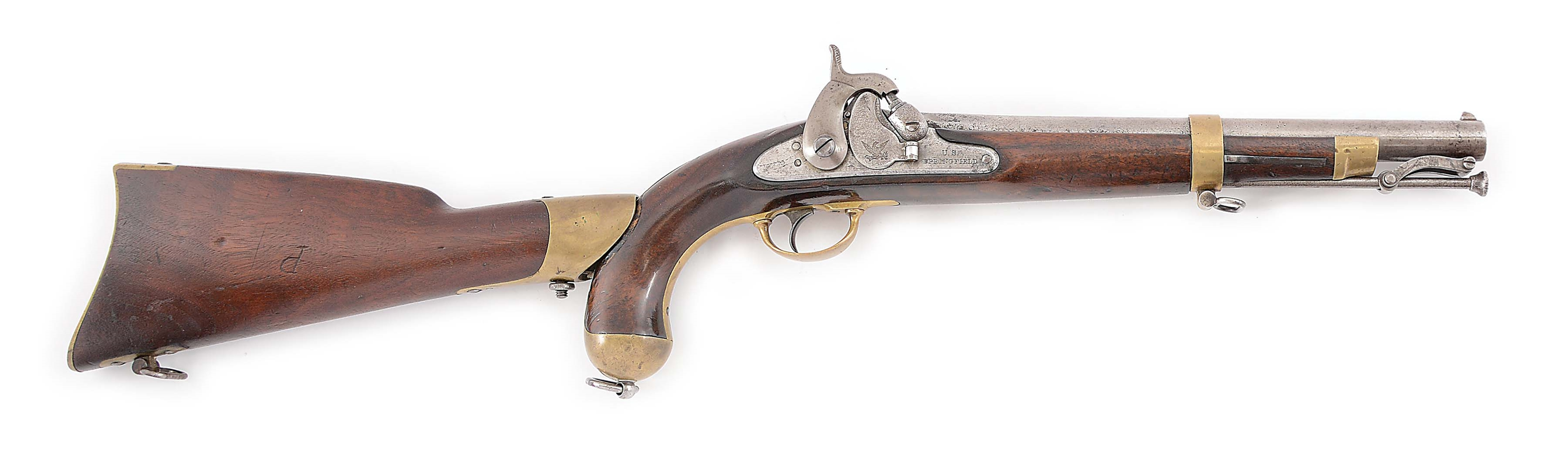 "(A) A SPRINGFIELD MODEL 1855 SINGLE SHOT MARTIAL PISTOL WITH SHOULDER STOCK AND 12"" RIFLED BARREL, DATED 1855. FURTHER STAMPED ON TOP FLAT SC FOR SOUTH CAROLINA, INDICATING POSSIBLE CONFEDERATE USE."