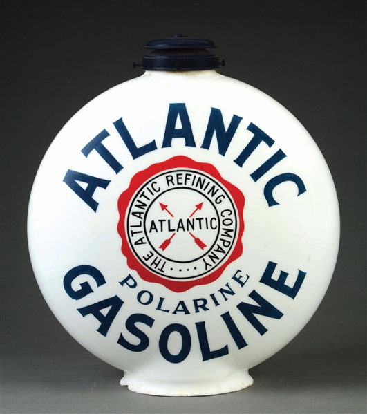 RARE ATLANTIC GASOLINE CHIMNEY CAP ONE PIECE ETCHED GLOBE.