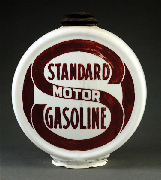 EXTREMELY RARE STANDARD MOTOR GASOLINE CHIMNEY CAP ONE PIECE ETCHED GLOBE.