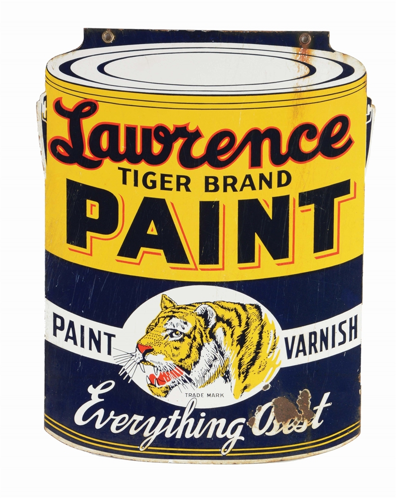 LAWRENCE TIGER BRAND PAINT DIE CUT PORCELAIN SIGN.