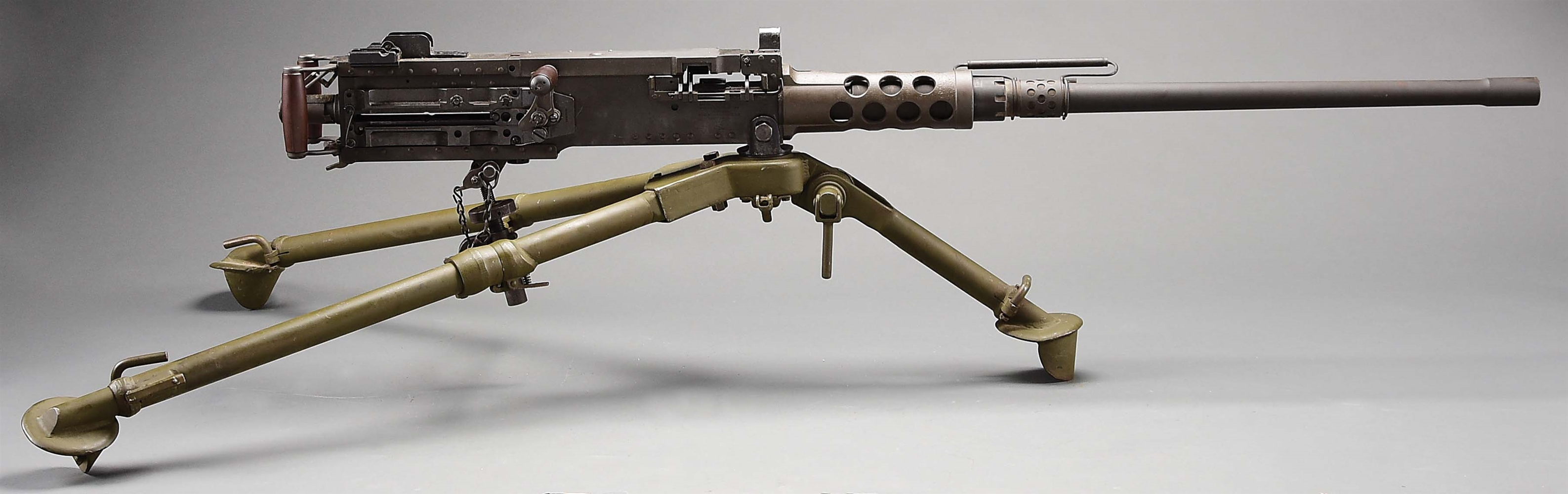 (N) NEAR MINT RAMO SIDEPLATE BROWNING M2 .50 CAL MACHINE GUN ON GROUND TRIPOD (FULLY TRANSFERABLE).