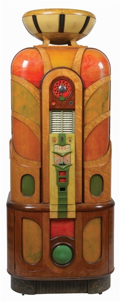 MULTI-COIN ROCK-OLA MODEL 1414 PHONOGRAPH JUKEBOX.