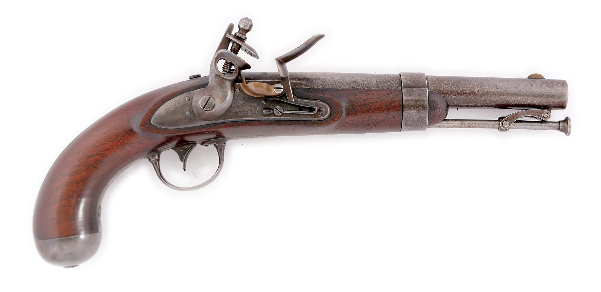 (A) A MODEL 1836 US SINGLE SHOT MARTIAL PISTOL BY A.H. WATERS DATED 1843.
