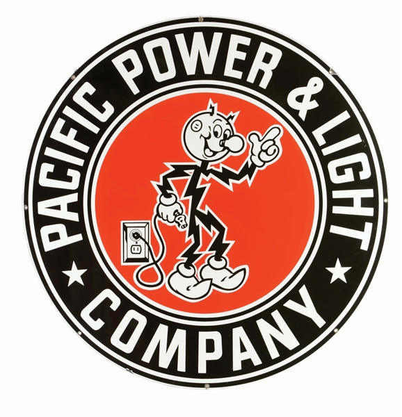 PACIFIC POWER & LIGHT COMPANY PORCELAIN SIGN W/ READY KILOWATT GRAPHIC.