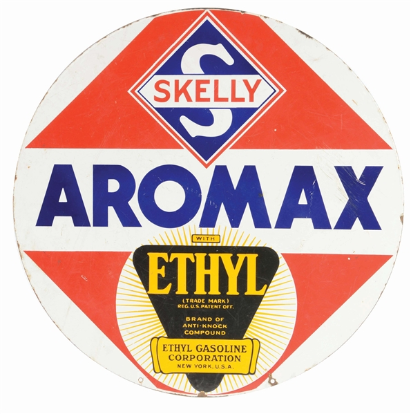 SKELLY AROMAX GASOLINE PORCELAIN CURB SIGN W/ ETHYL BURST GRAPHIC.