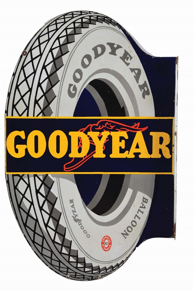 GOODYEAR TIRES DIE CUT PORCELAIN FLANGE SIGN W/ TIRE GRAPHIC.