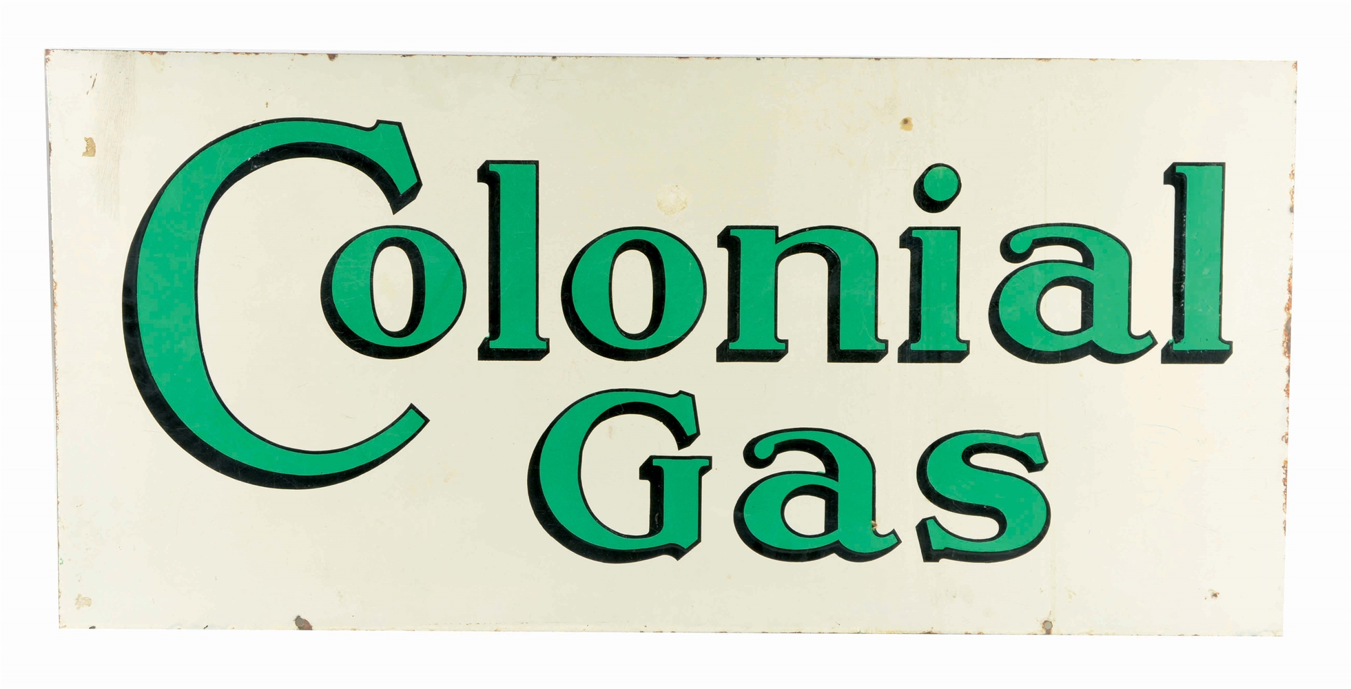COLONIAL GAS PORCELAIN SERVICE STATION SIGN.