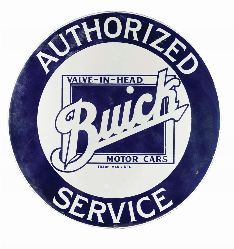 BUICK MOTOR CARS AUTHORIZED SERVICE PORCELAIN SIGN.