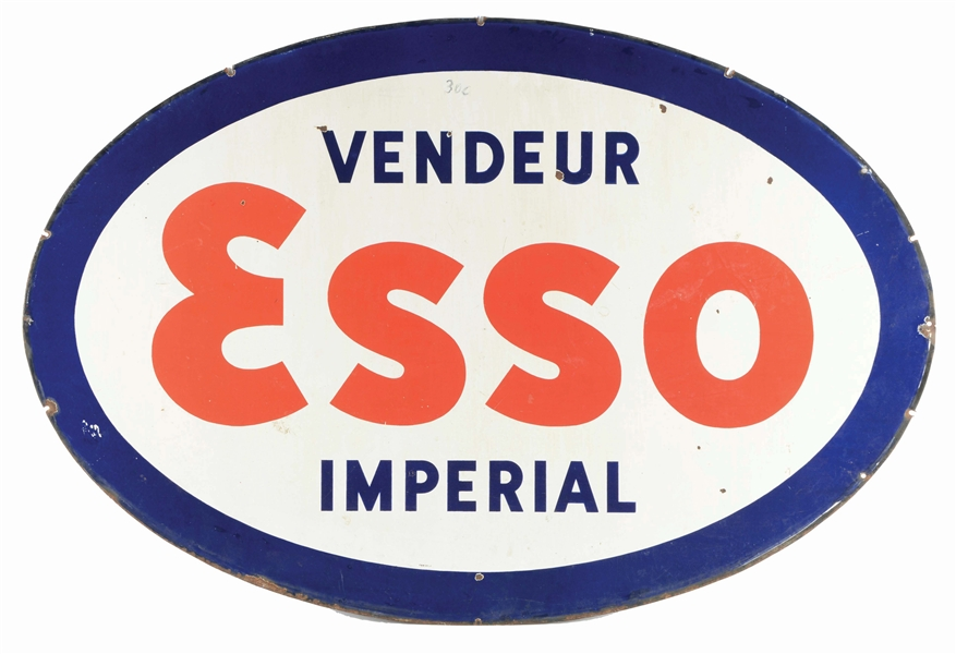 ESSO IMPERIAL GASOLINE PORCELAIN SIGN.