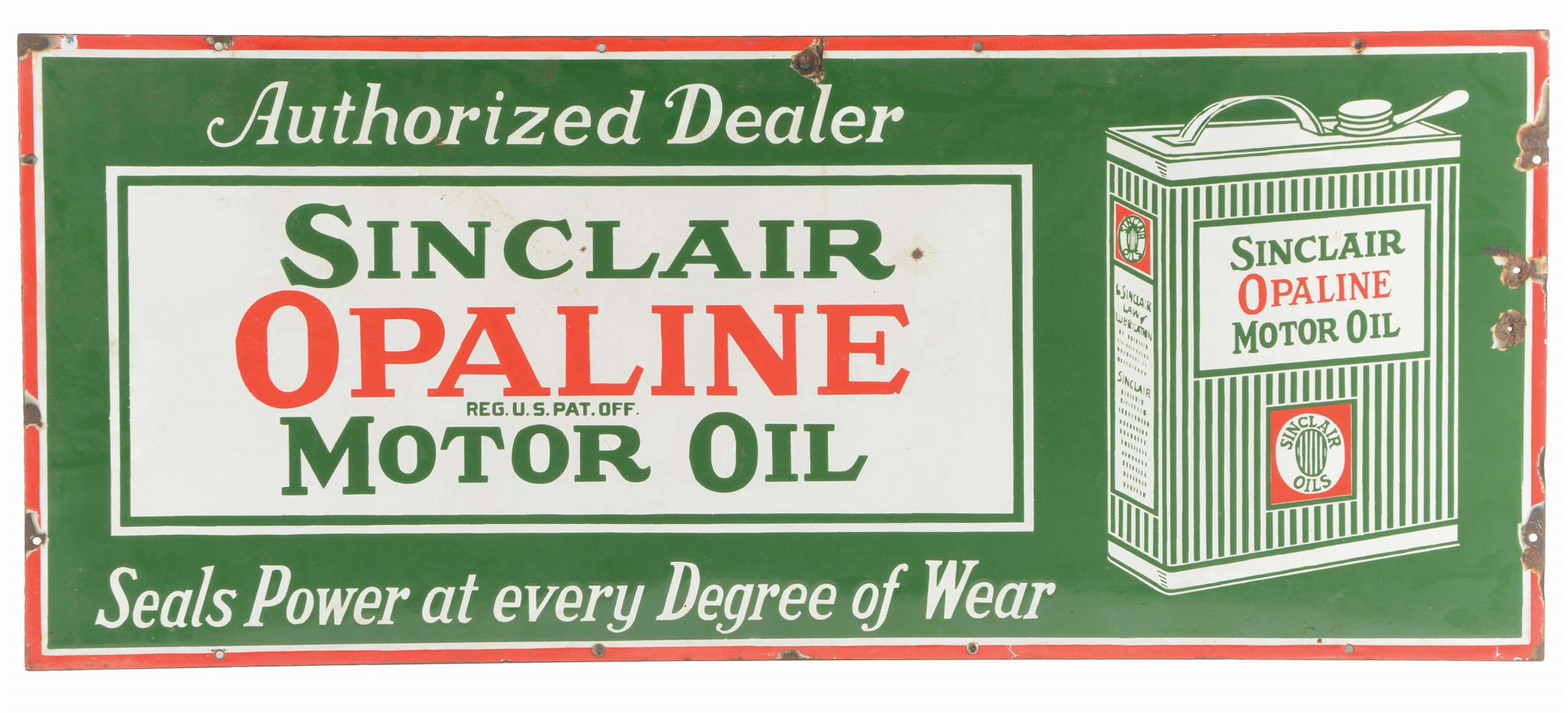 SINCLAIR OPALINE MOTOR OIL PORCELAIN SIGN W/ CAN GRAPHIC.