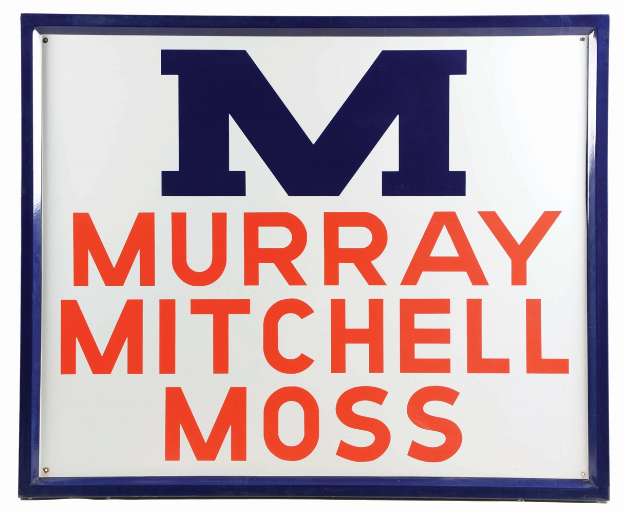 OUTSTANDING MURRAY MITCHELL MOSS COTTON MACHINERY PORCELAIN SIGN W/ SELF FRAMED EDGE.