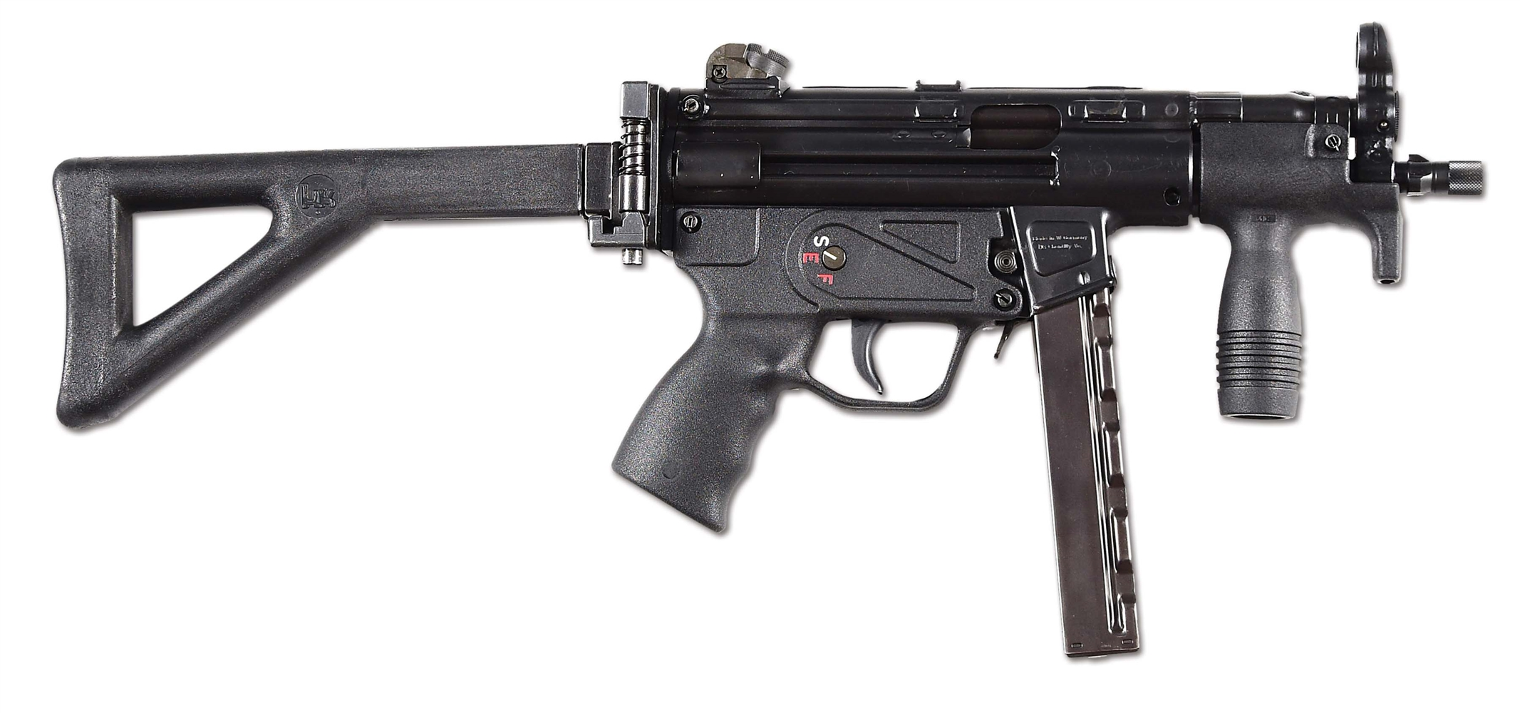 (N) VERY DESIRABLE S & H ARMS REGISTERED RECEIVER HK 94 CONVERTED TO MP5K FOLDING STOCK MACHINE GUN (FULLY TRANSFERABLE).