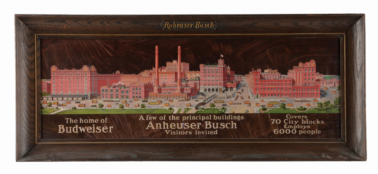 ANHEUSER-BUSCH FACTORY SCENE TIN-LITHO ADVERTISING SIGN.
