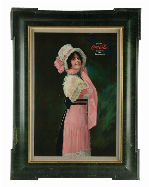 "1914 SELF-FRAMED COCA-COLA ""BETTY"" TIN-LITHO ADVERTISING SIGN."
