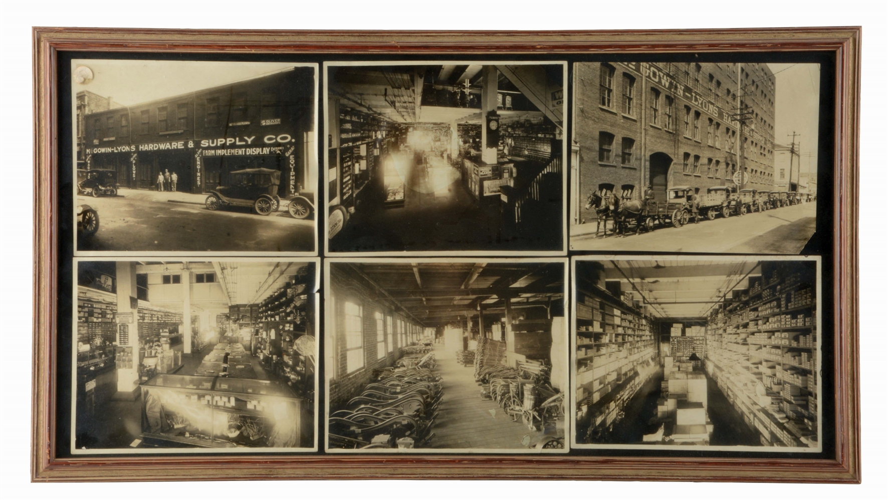 LOT OF 6: FRAMED PHOTOS OF MCGOWIN-LYONS HARDWARE & SUPPLY CO.