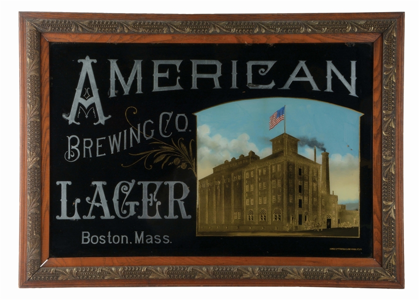 AMERICAN BREWING COMPANY LAGER REVERSE GLASS ADVERTISING SIGN.
