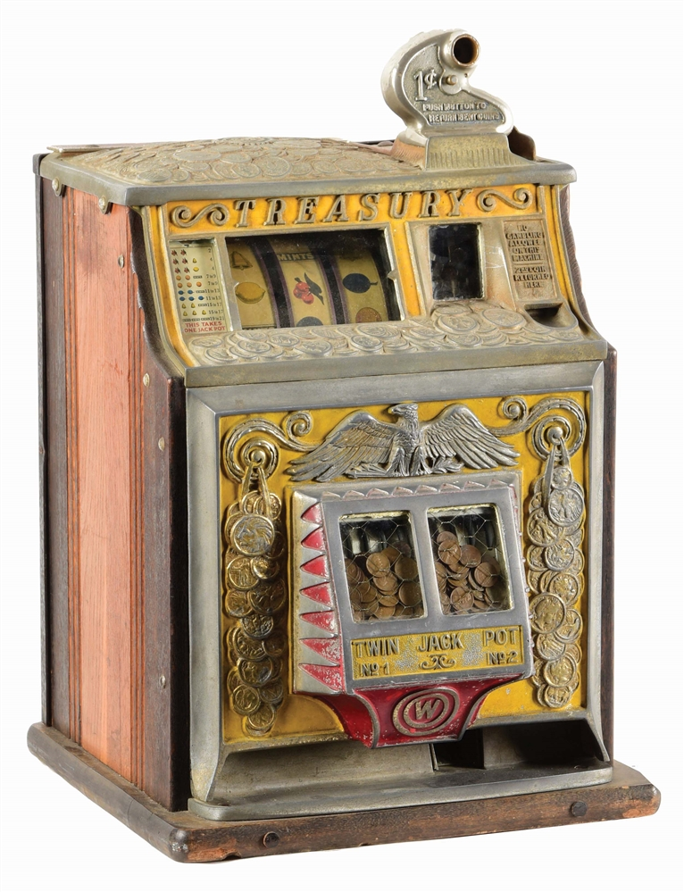 VERY RARE 1¢ WATLING TREASURY SLOT MACHINE.