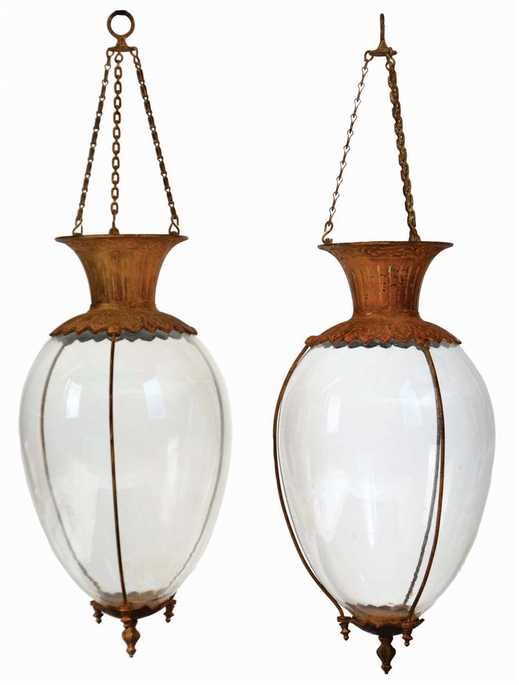 LOT OF 2: PAIR OF EARLY APOTHECARY HANGING GLOBES.