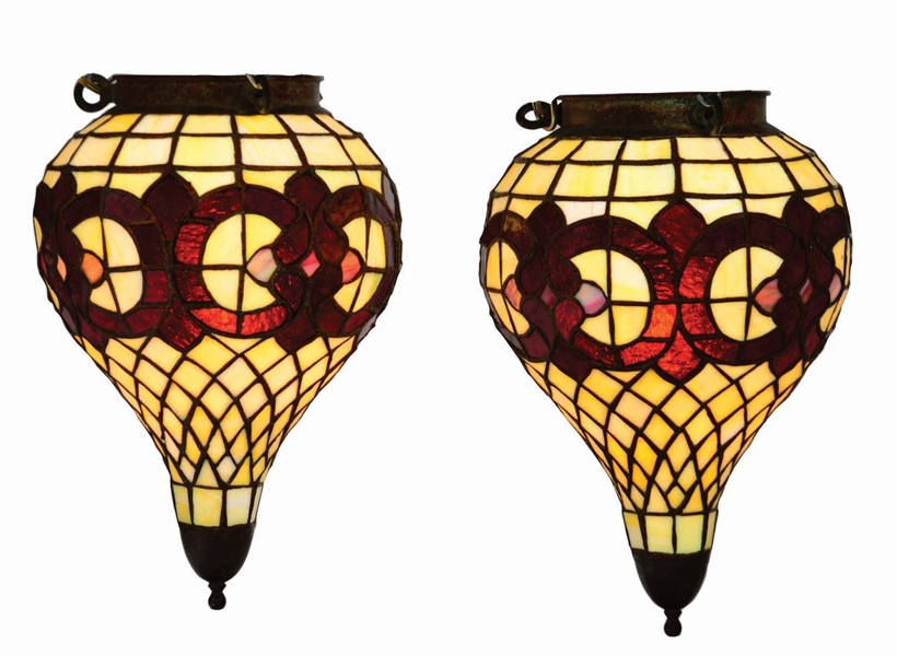 LOT OF 2: PAIR OF EARLY STAINED GLASS APOTHECARY HANGING SHOW GLOBES.