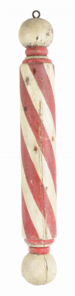 EARLY CARVED WOODEN BARBER POLE TRADE SIGN.