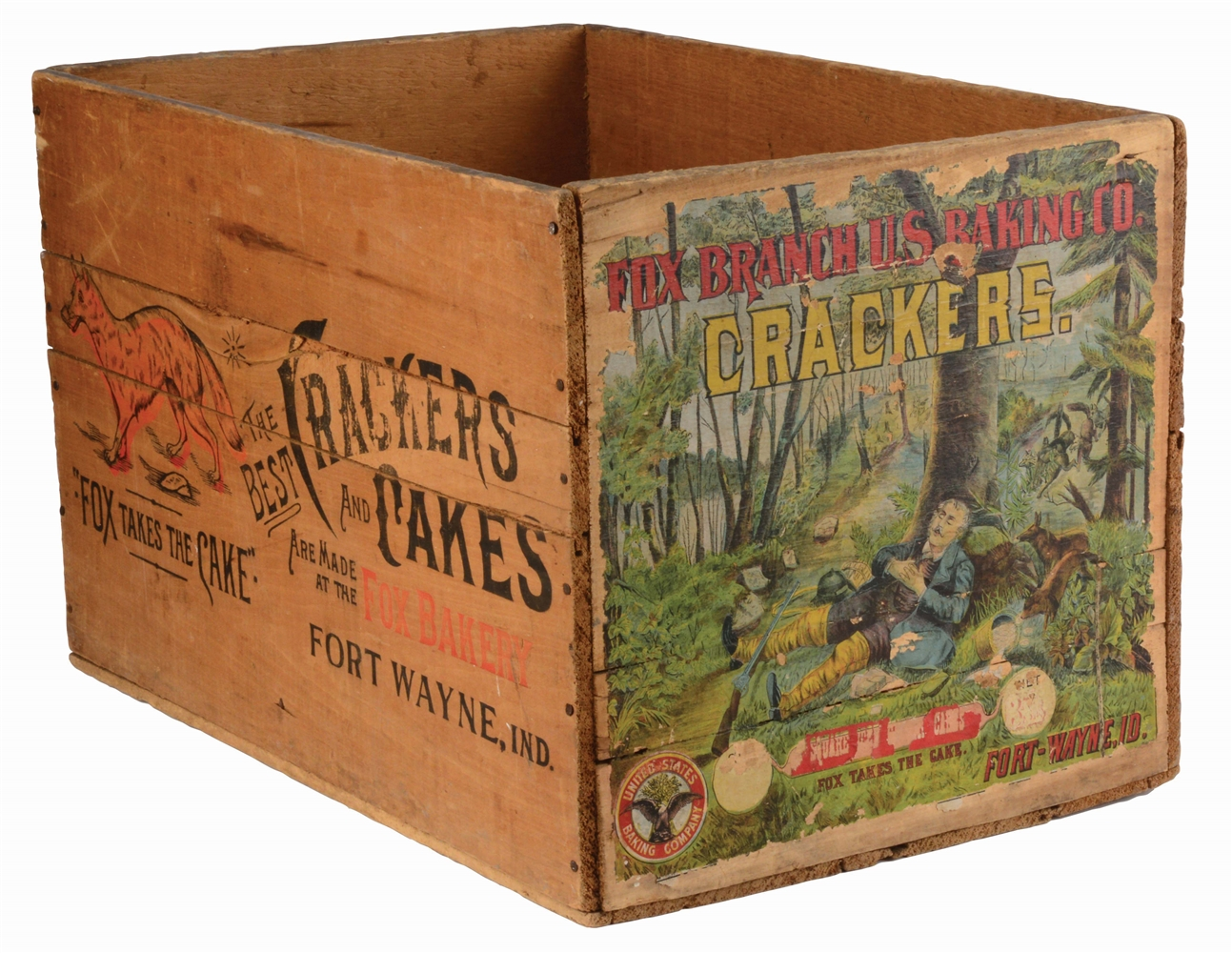 FOX BAKERY CRACKERS AND CAKES ADVERTISING WOODEN CRATE.