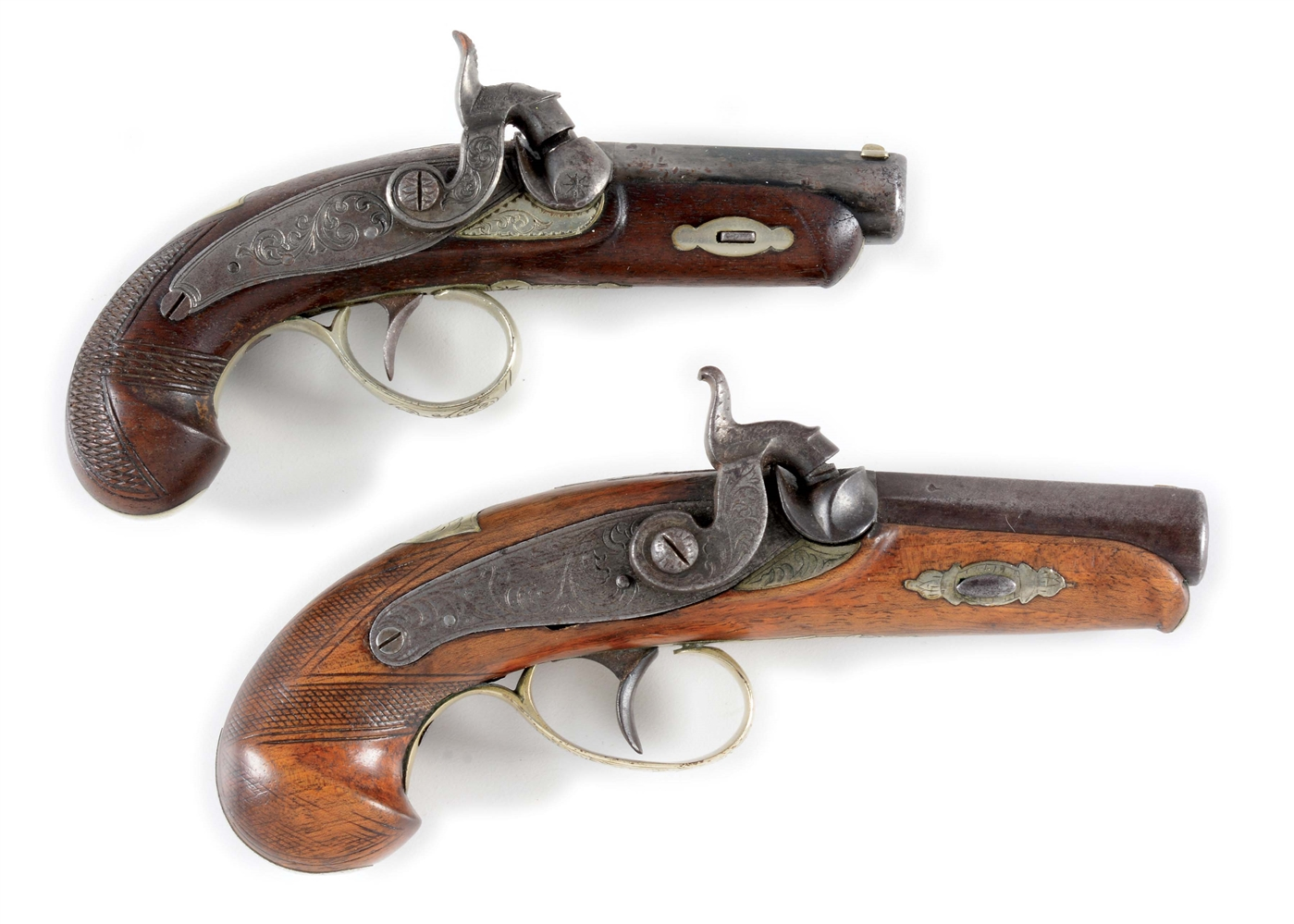 (A) LOT OF 2: MID-NINETEENTH CENTURY DERRINGER TYPE PISTOLS.