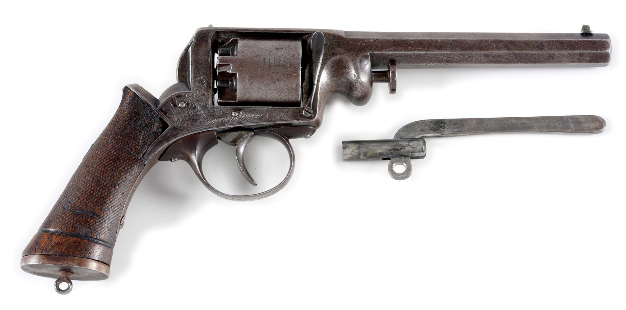 (A) ADAMS PATENT STYLE DOUBLE ACTION PERCUSSION REVOLVER.