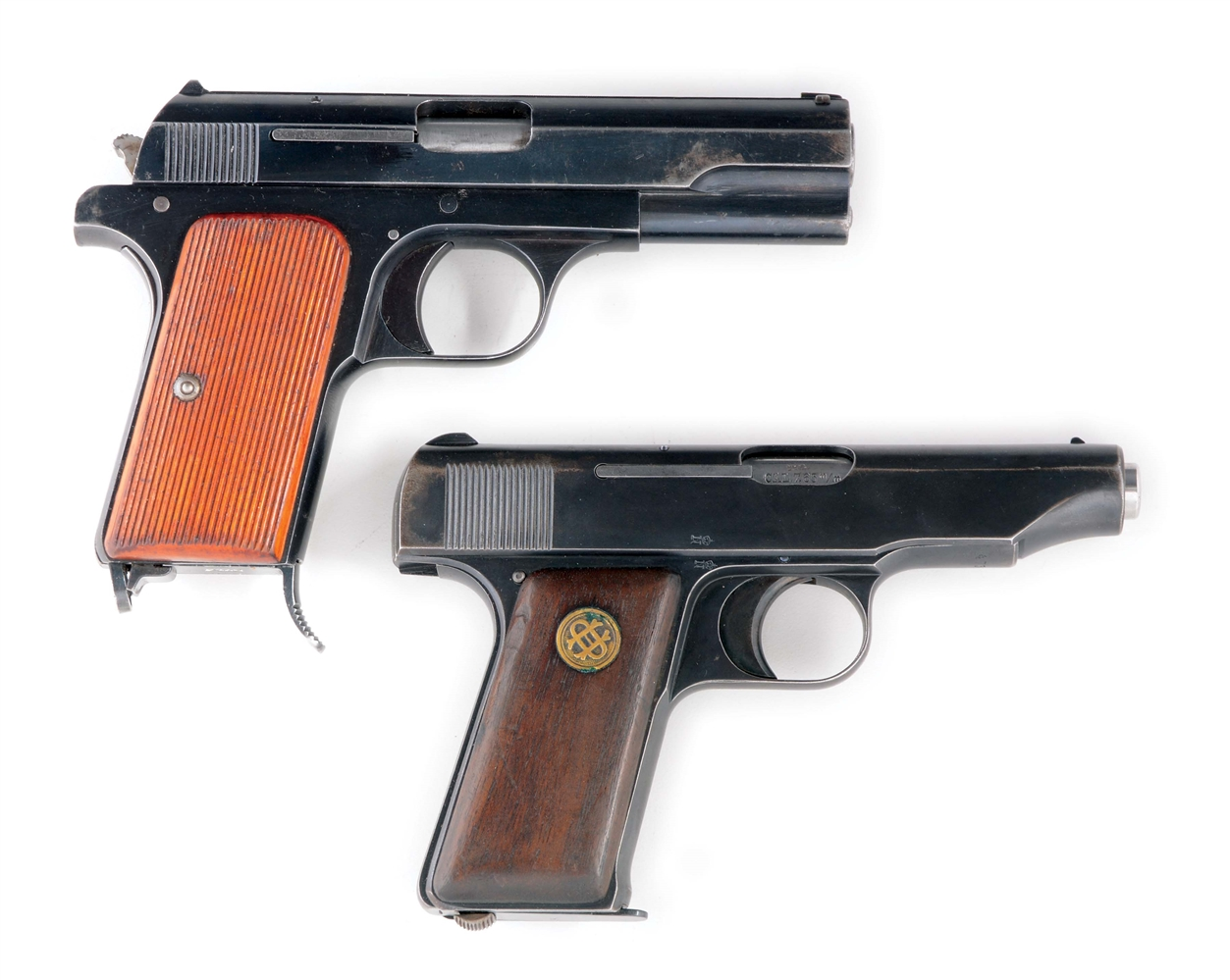 (C) TWO PRE-WAR SEMI-AUTOMATIC PISTOLS FROM FEMARU AND ORTGIES WITH HOLSTERS.