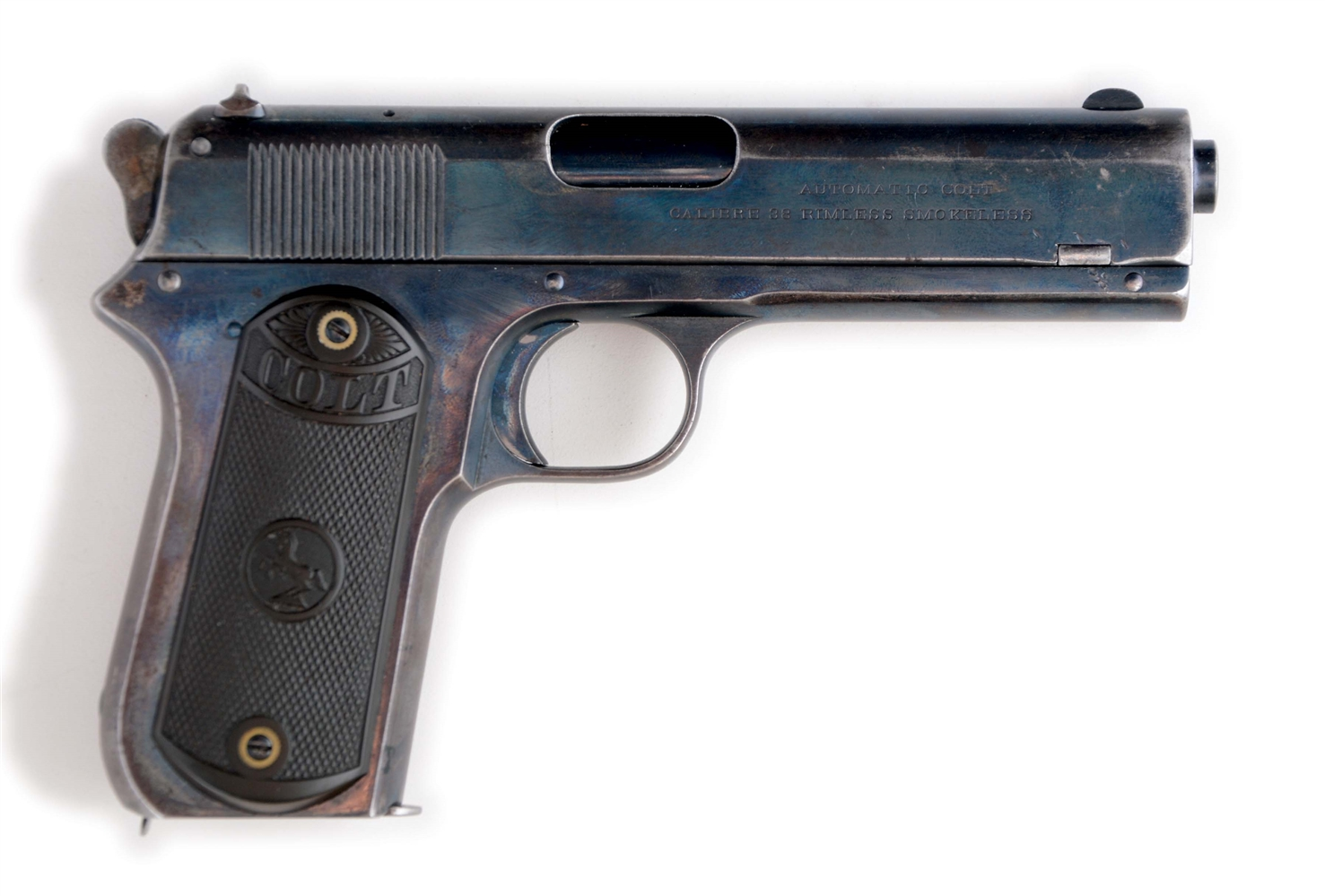 (C) COLT MODEL 1903 EXPOSED HAMMER SEMI-AUTOMATIC PISTOL (1908).