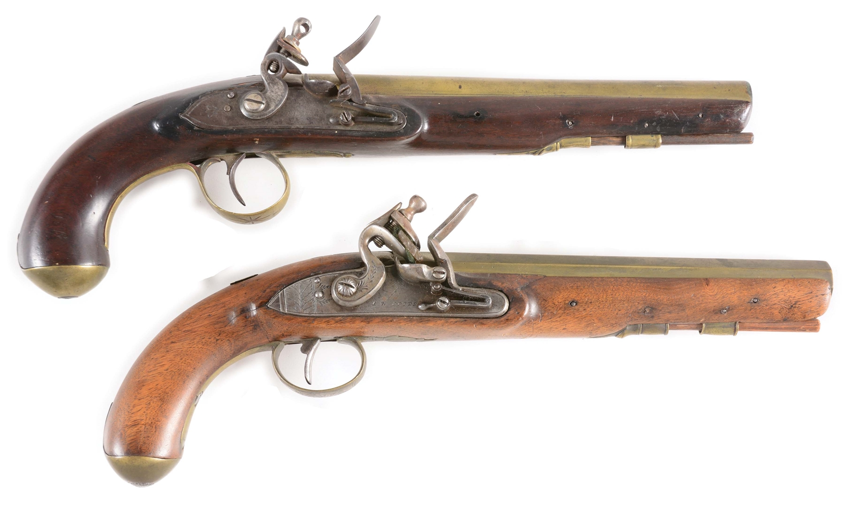 LOT OF 2: ENGLISH BRASS BARREL FLINTLOCK HOLSTER PISTOLS, ONE BY SHARPE, THE OTHER WITH LOCK MARKED A.W. SPIES.