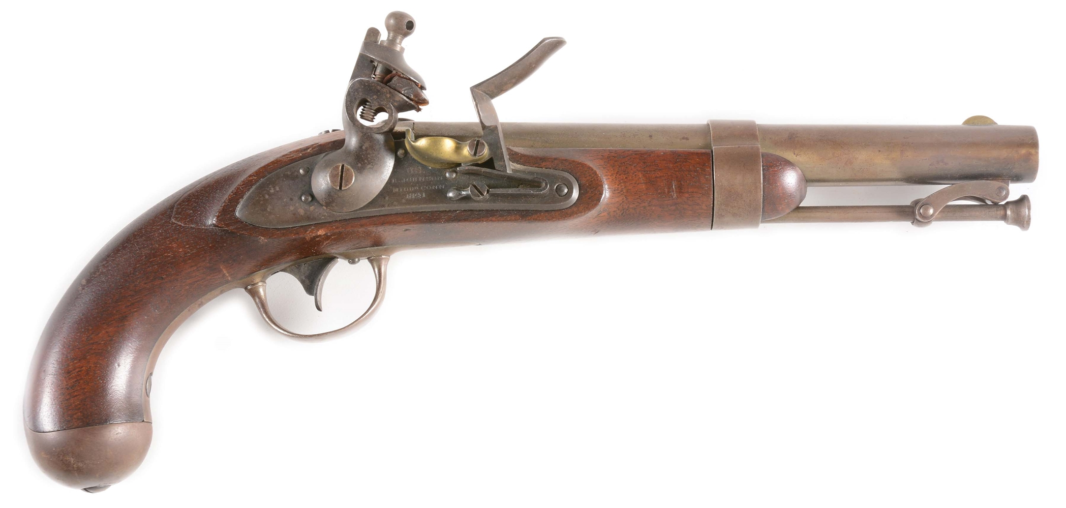 (A) GOOD MODEL 1836 US FLINTLOCK MARTIAL PISTOL BY R. JOHNSON DATED 1841, IN UNTOUCHED ORIGINAL CONDITION THROUGHOUT.