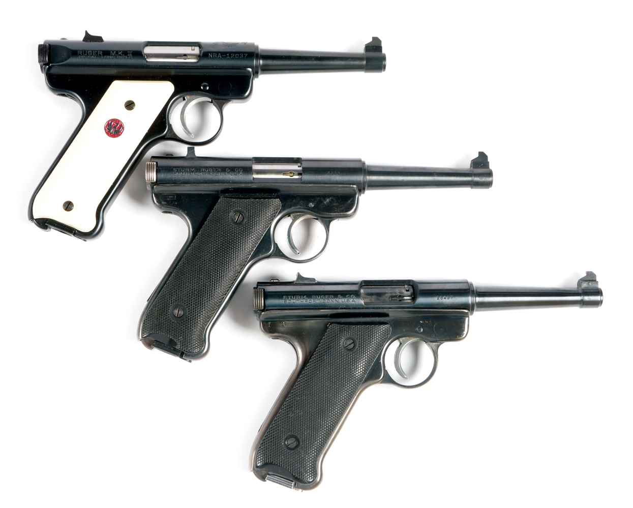 (C) LOT OF THREE: RUGER .22 SEMI-AUTOMATIC PISTOLS, INCLUDING TWO PRE-1952 MODELS.