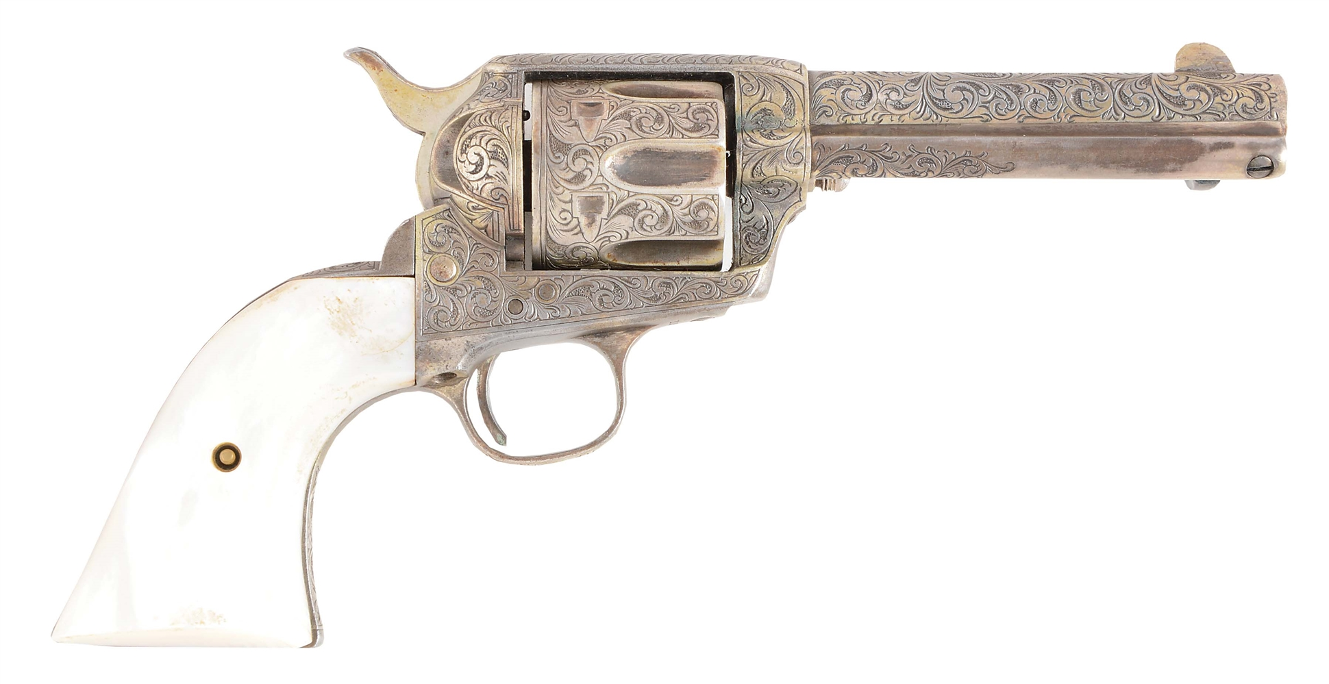 (A) ENGRAVED SILVER PLATED COLT SINGLE ACTION ARMY .38-40 REVOLVER (1888).