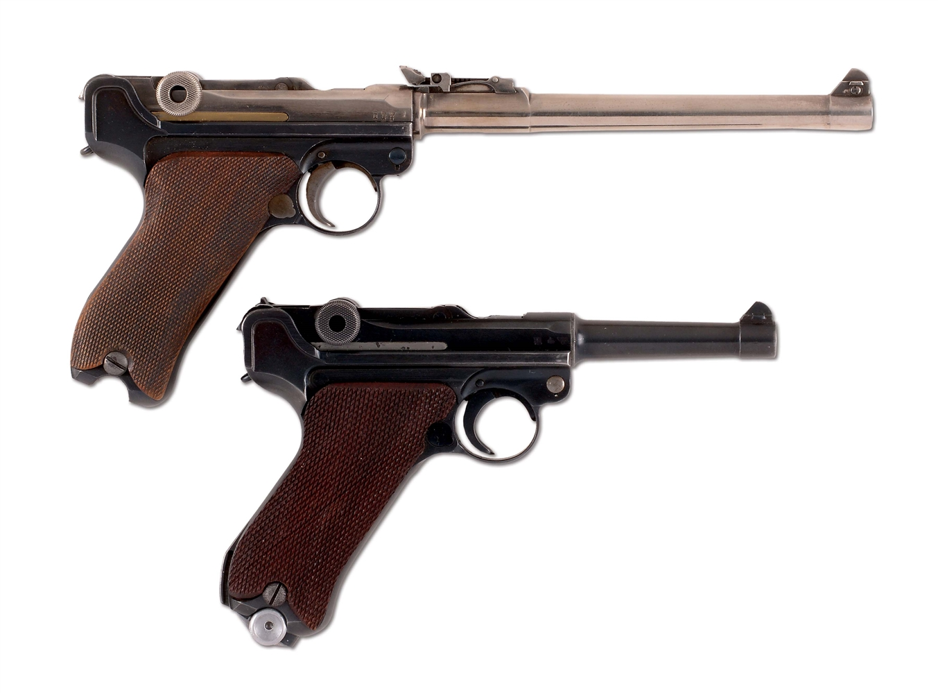 (C) LOT OF TWO: LUGER SEMI-AUTOMATIC PISTOLS.