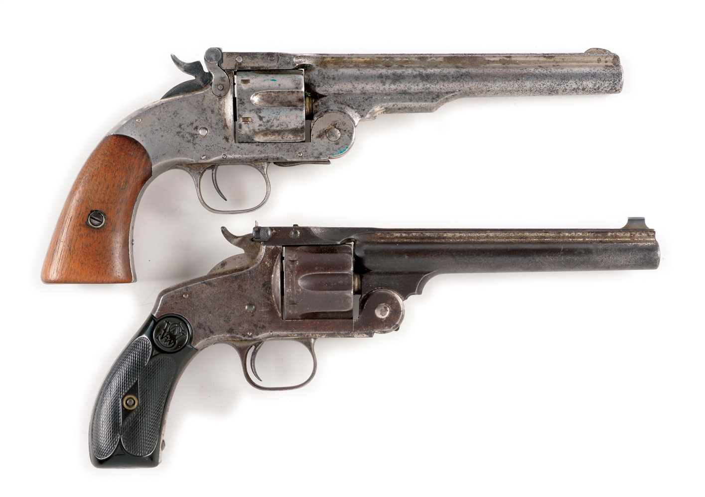 (A) LOT OF TWO: TWO ANTIQUE SMITH & WESSON REVOLVERS - SCHOFIELD & NO. 3.