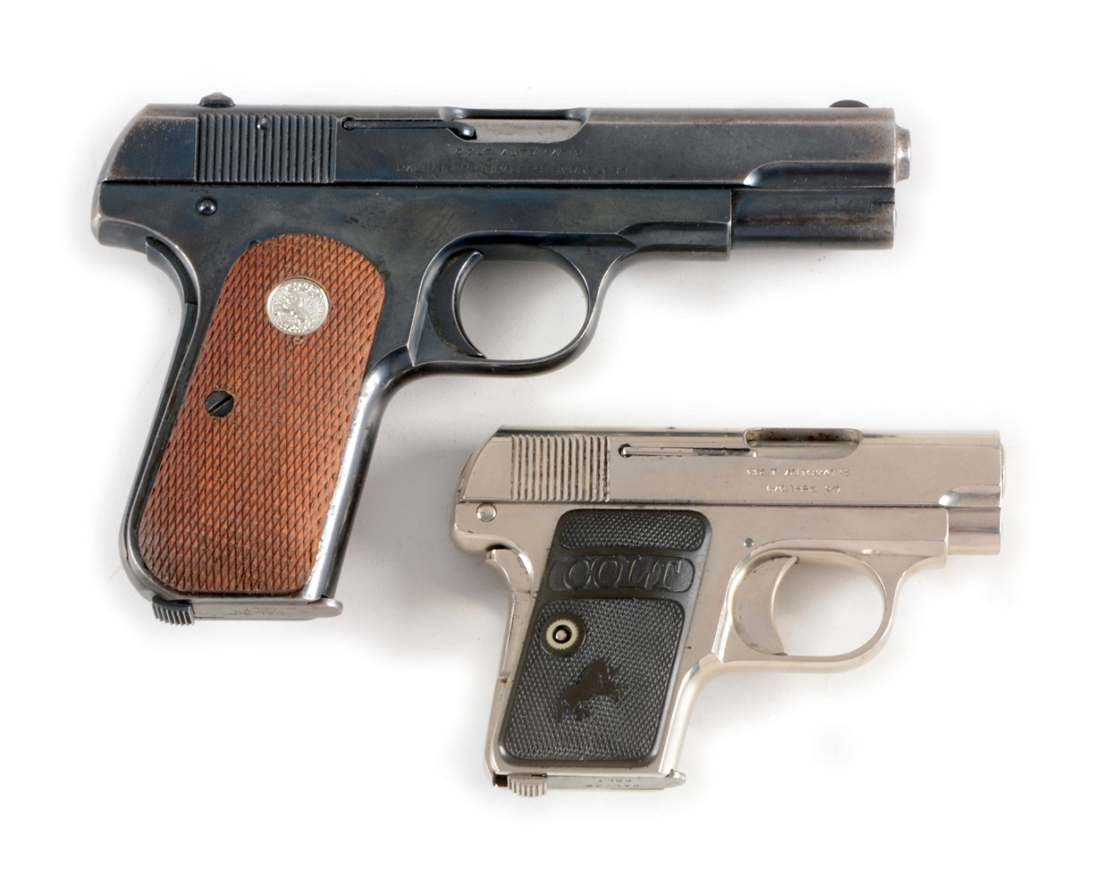 (C) LOT OF TWO: TWO COLT SEMI-AUTOMATIC PISTOLS MADE IN 1919 - TYPE M & TYPE N.