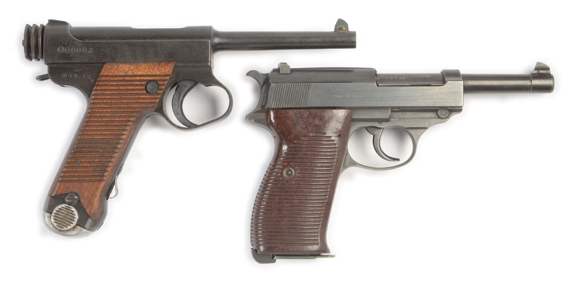 (C) LOT OF TWO: TWO WORLD WAR II CLASSIC HANDGUNS, NAMBU & P38.