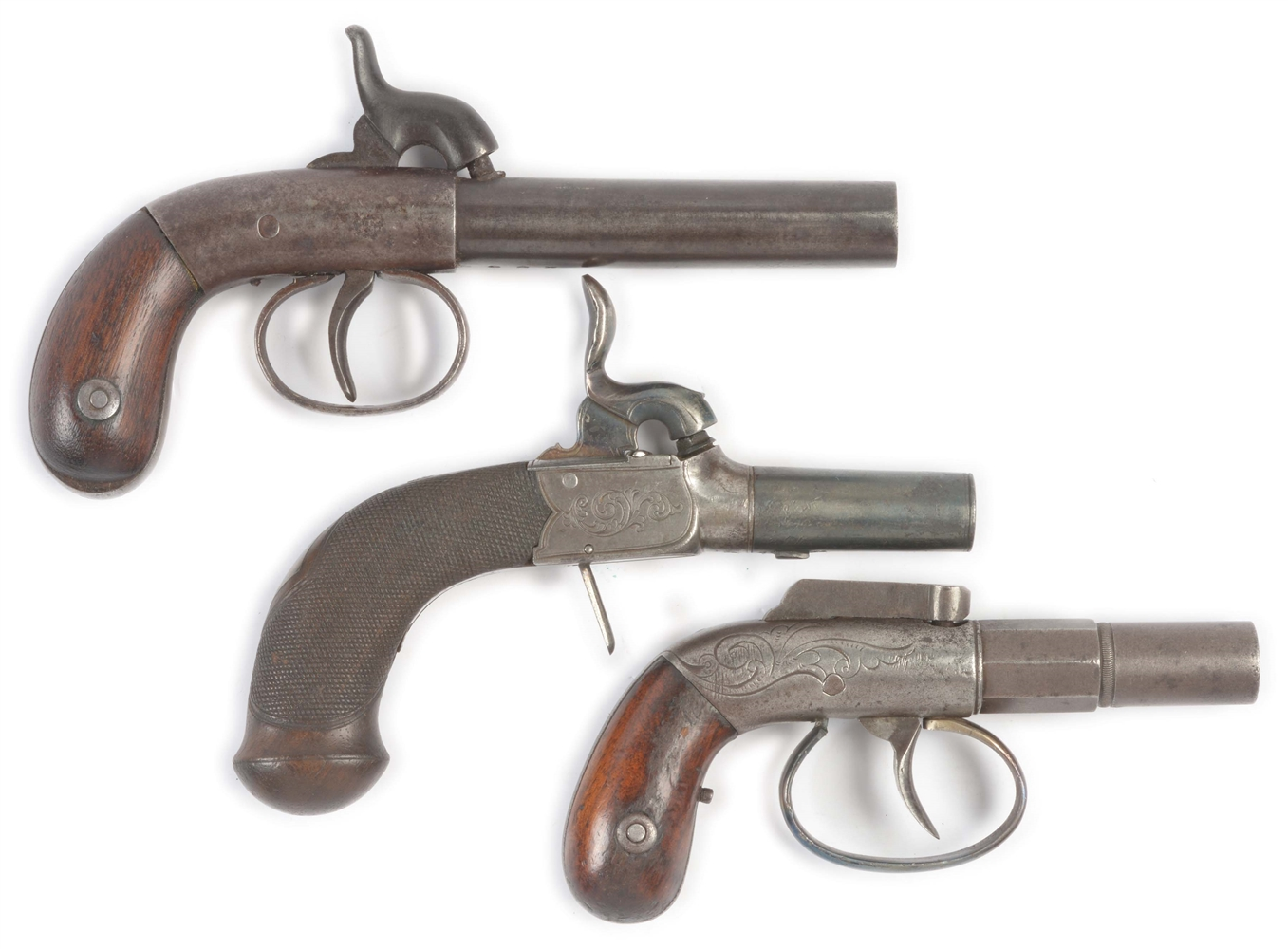 (A) LOT OF THREE: THREE ANTIQUE SINGLE SHOT PERCUSSION BOOT PISTOLS.