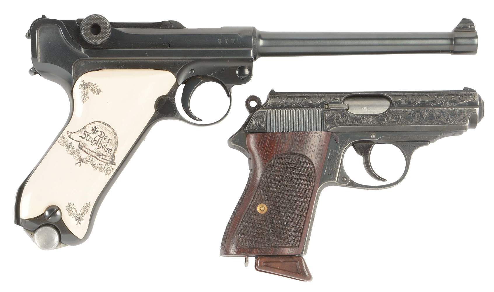 (C) LOT OF TWO: DWM LUGER AND WALTHER PPK SEMI-AUTOMATIC PISTOLS.