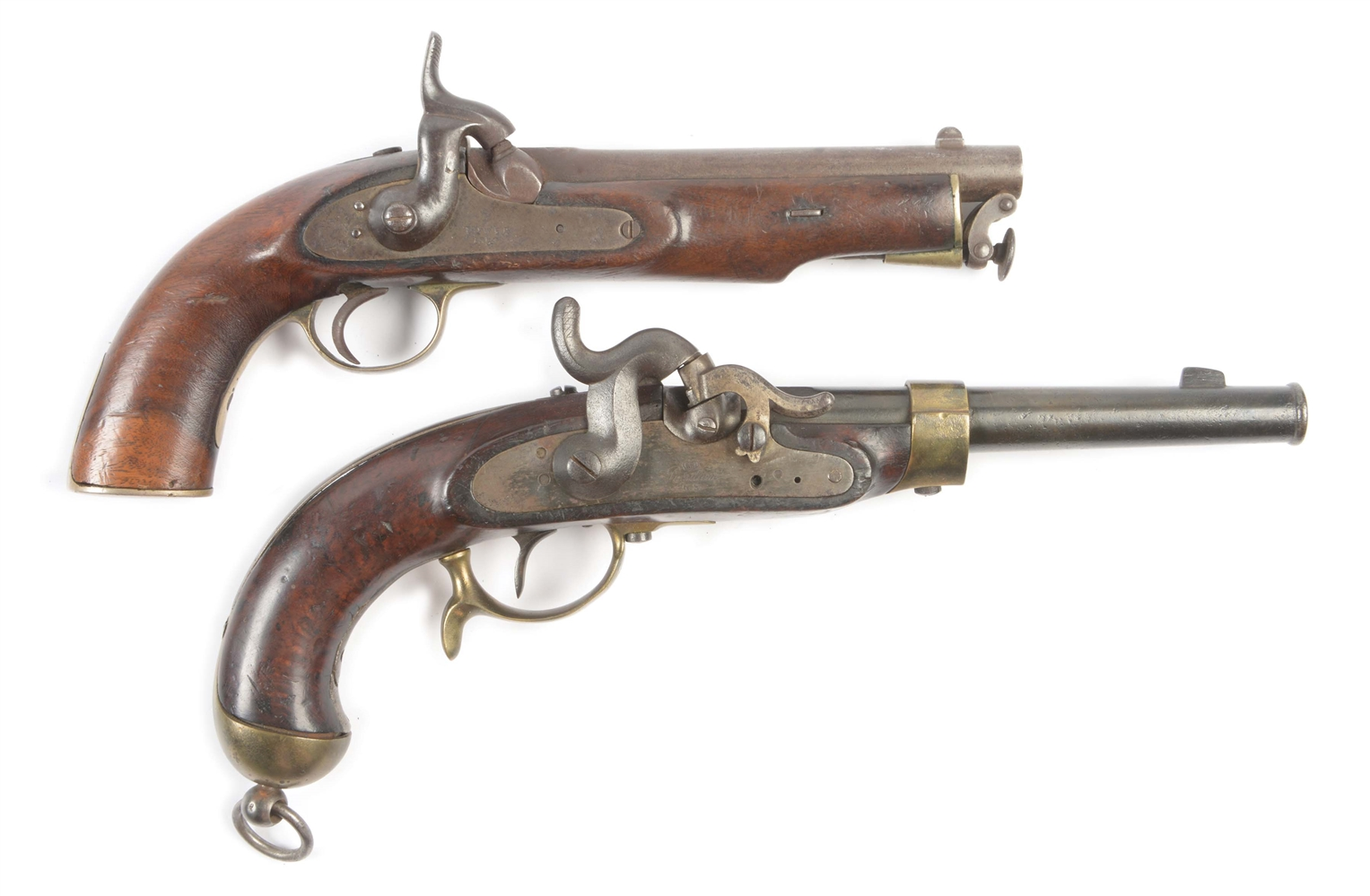 (A) LOT OF TWO: COLLECTORS LOT CONSISTING OF AN 1851 POTSDAM NIPPLE PROTECTOR PERCUSSION PISTOL AND A NEPALESE USED ENGLISH COMPOSITE PISTOL OF LANCERS TYPE.