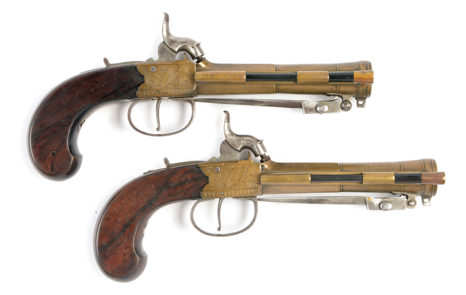 (A) LOT OF TWO: A PAIR OF ENGLISH BRASS BARRELED PERCUSSION BLUNDERBUSS PISTOLS CONVERTED FROM FLINTLOCK, WITH SNAP BAYONETS BY BLAKE OF LONDON, GEORGE 1790-1806 AT 95 WAPPING OLD STAIRS.