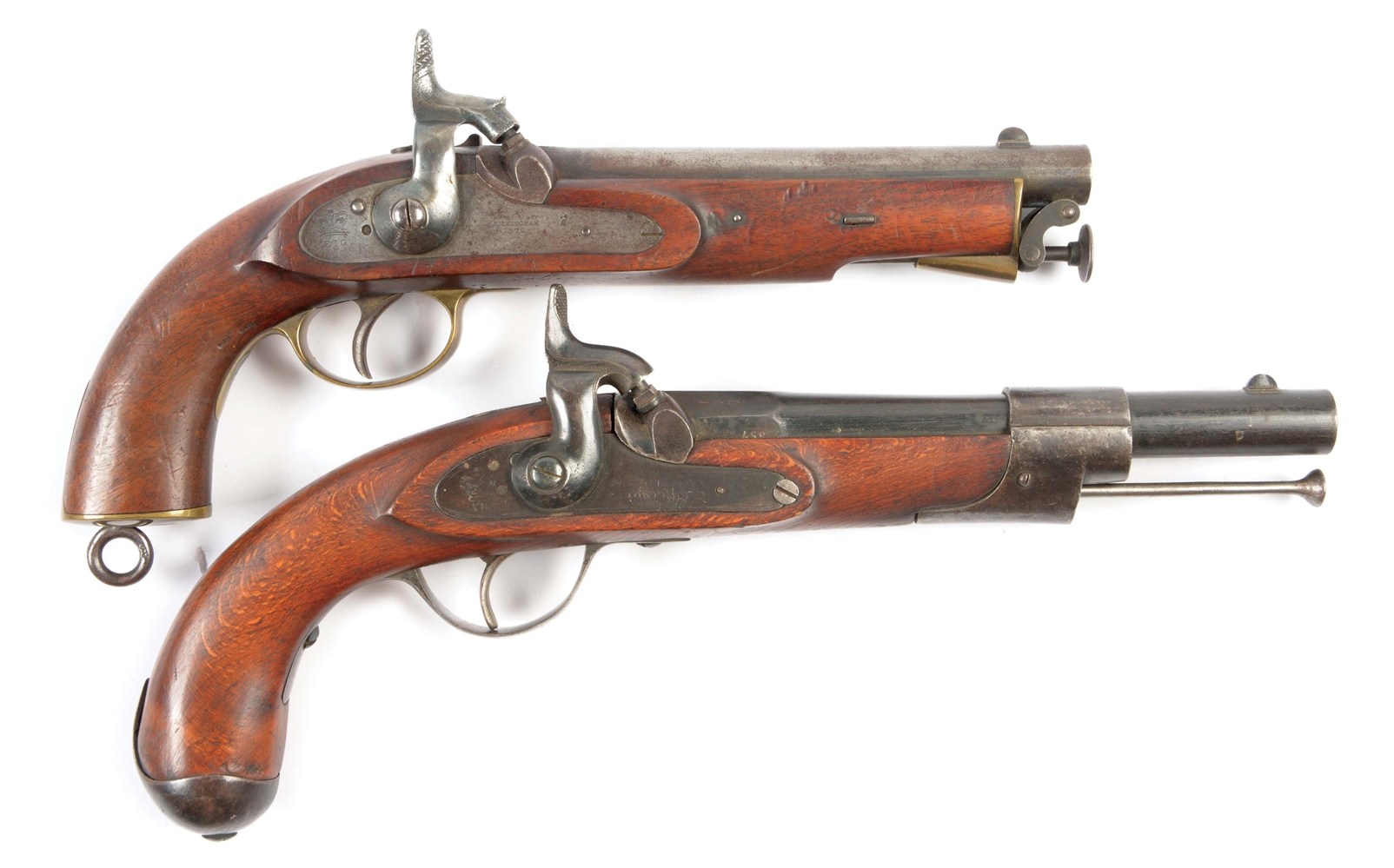 (A) LOT OF TWO: TWO SINGLE SHOT MILITARY STYLE PERCUSSION PISTOLS, ONE EAST INDIA COMPANY, THE OTHER A COMPOSITE WITH TOWER LOCK, BELGIAN BARREL.