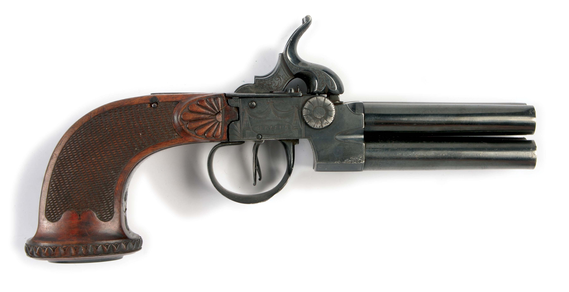 (A) A SCARCE BELGIAN FOUR-BARRELED PERCUSSION PISTOL BY THE RENOWNED BELGIAN MAKER GUILLAUME BERLEUR, 1780-1830, WHO WORKED BESIDE THE FAMOUS NICOLAS BOUTET AT VERSAILLES.