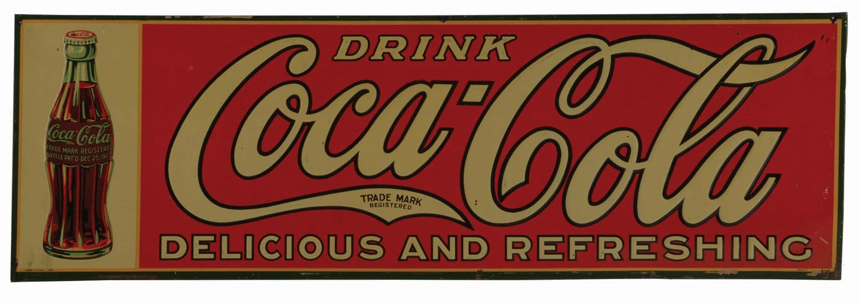 1929 EMBOSSED TIN COCA-COLA ADVERTISING SIGN.