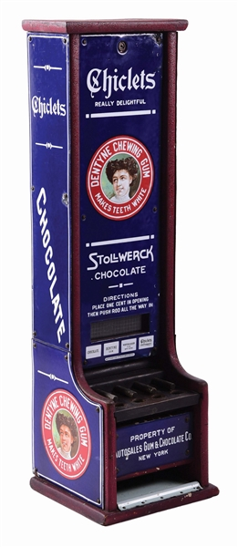 CHAMPION VENDING MACHINE CO. CHICLETS GUM & STOLLWERK CHOCOLATE VENDING MACHINE.