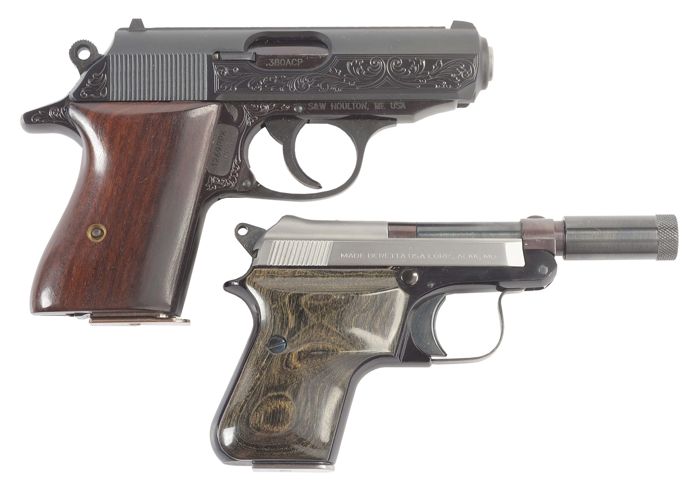 (C) LOT OF TWO: WALTHER PPK AND BERETTA 950BS SEMI AUTOMATIC PISTOLS.