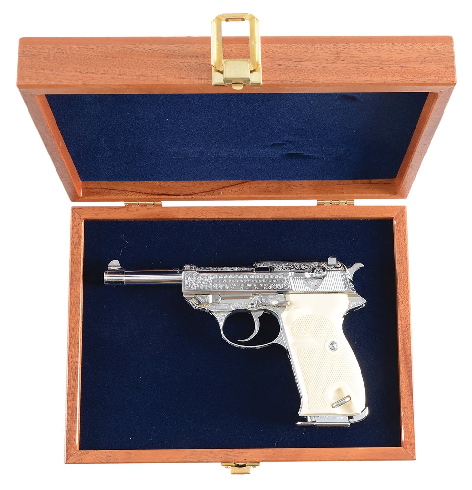 (C) CASED & FACTORY ENGRAVED WALTHER P-38 SEMI-AUTOMATIC PISTOL.