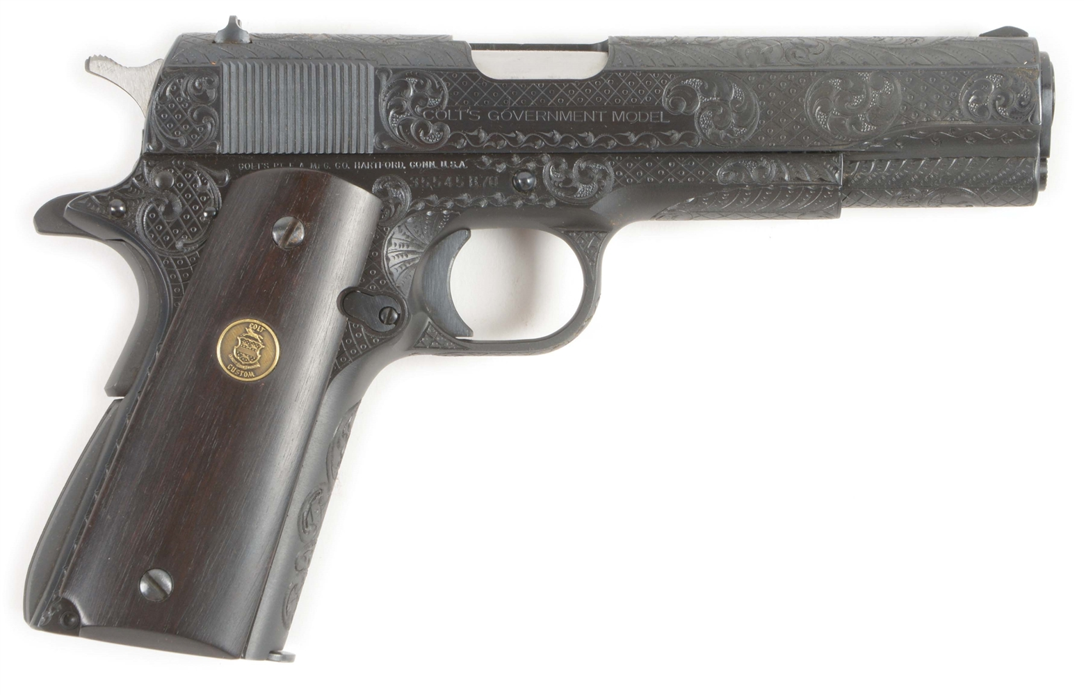 (M) FACTORY ENGRAVED COLT GOVERNMENT MKIV SERIES 70 .45 ACP SEMI-AUTOMATIC PISTOL WITH DOCUMENTATION.