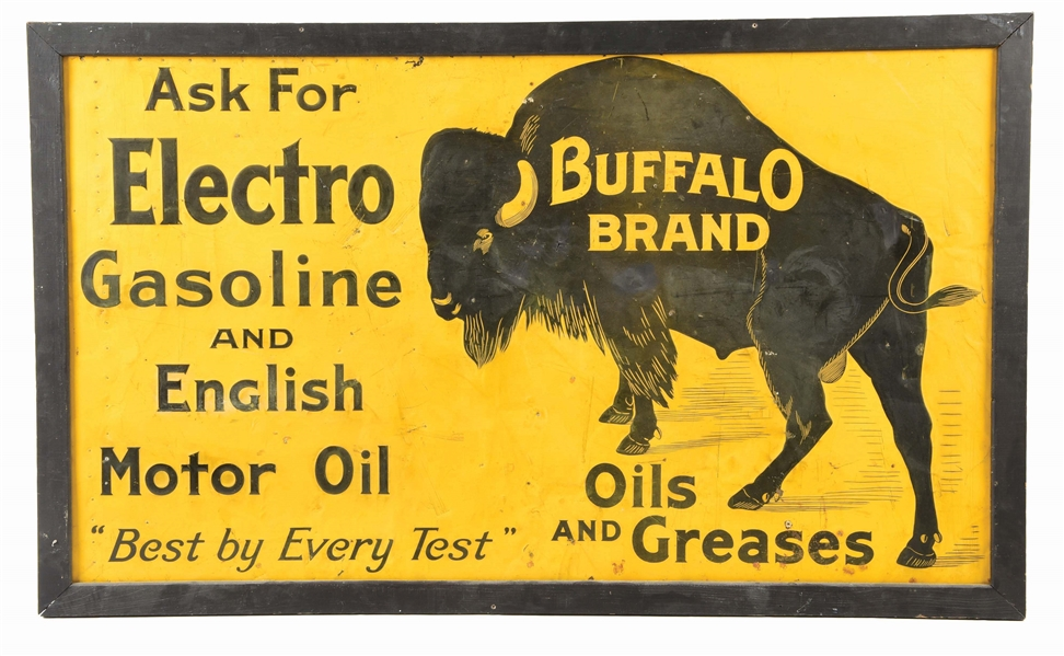 EXTREMELY RARE BUFFALO BRAND GASOLINE OILS & GREASE EMBOSSED TIN SIGN W/ WOOD FRAME.